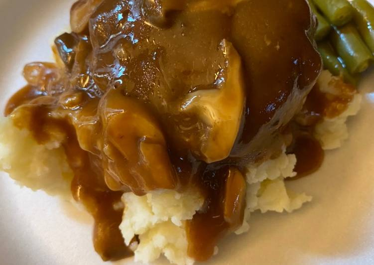 Quick and Easy Recipe: Appetizing Simple Salisbury steaks over mashed potatoes