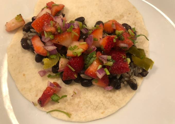 Black bean tacos with strawberry salsa