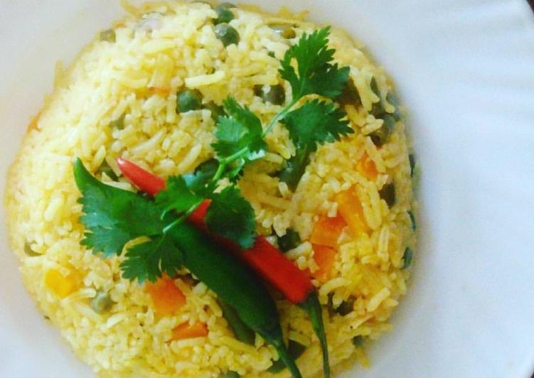 Simple veg, tumeric rice
