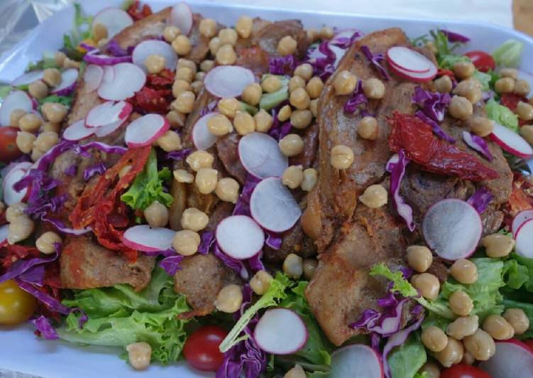 Roasted Pork Fillets on Mixed Leaves Salad