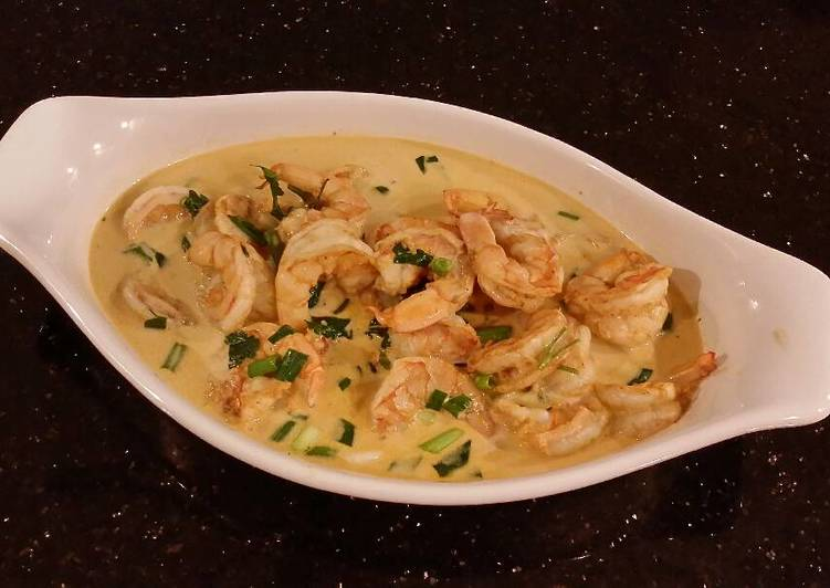Poached Shrimp in a Lemon Cream Broth