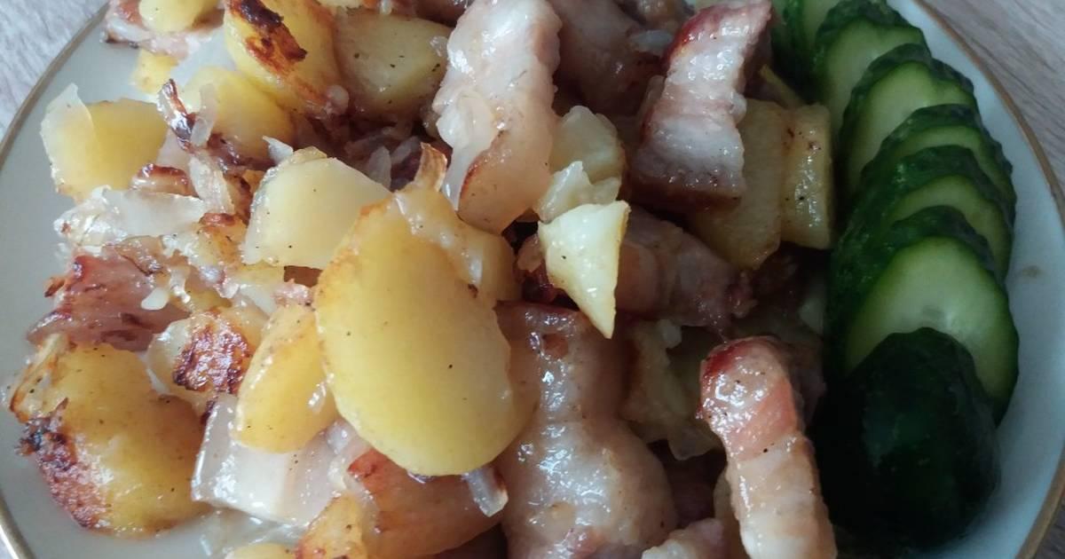 Картинки жареная картошка с салом