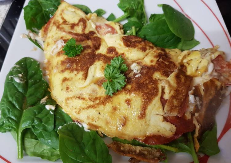 Step-by-Step Guide to Prepare Favorite My Chorizo & goats cheese with garlic and herbs Omelette