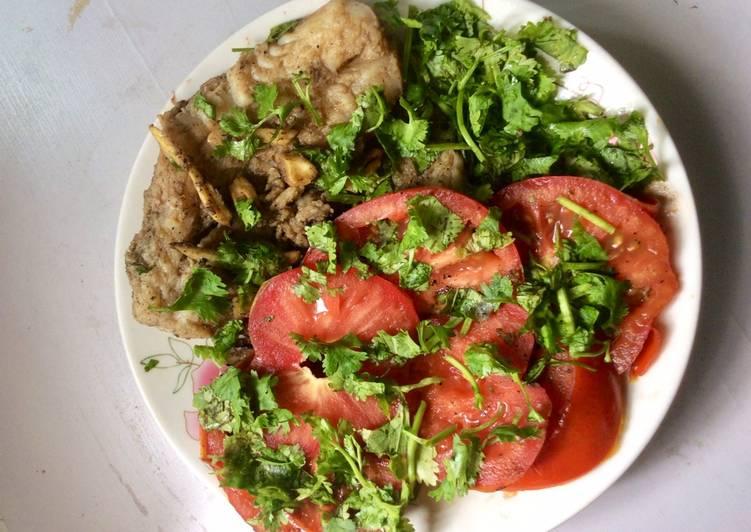 Pollock with fresh veg.side dish
