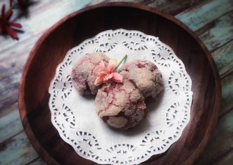 Purple sweet potato-crinkles cookies (kuker crinkles ubi ungu)