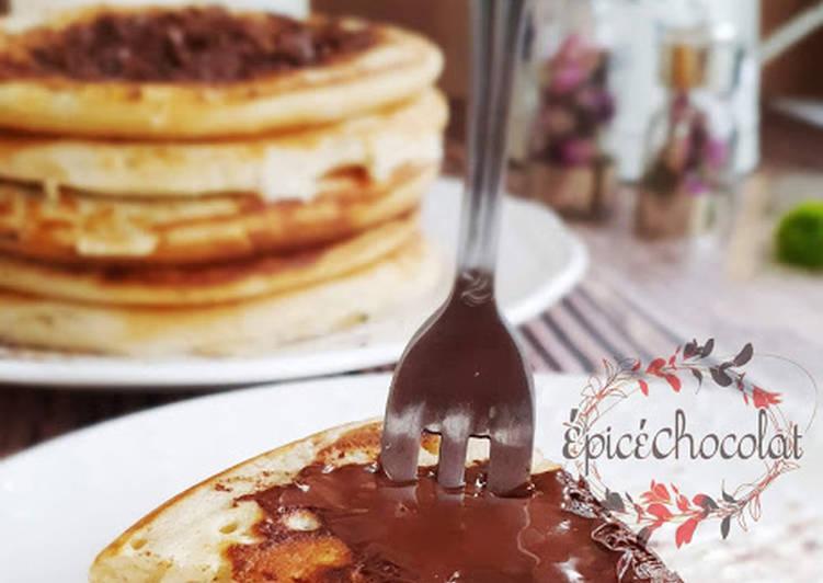 Recette Délicieux Pancakes américains au levain et chocolat