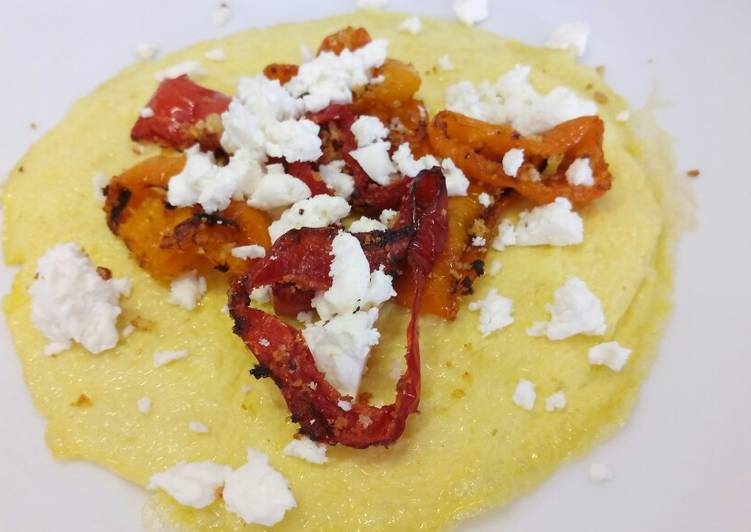 Roasted romano peppers, gratin breadcrumbs & feta open omelette