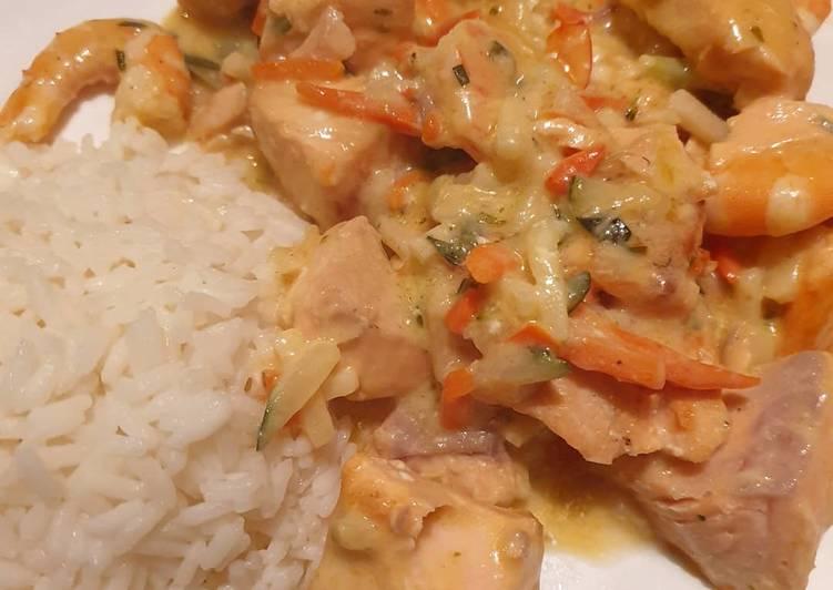 Duo de saumon et crevettes petits légumes et son riz