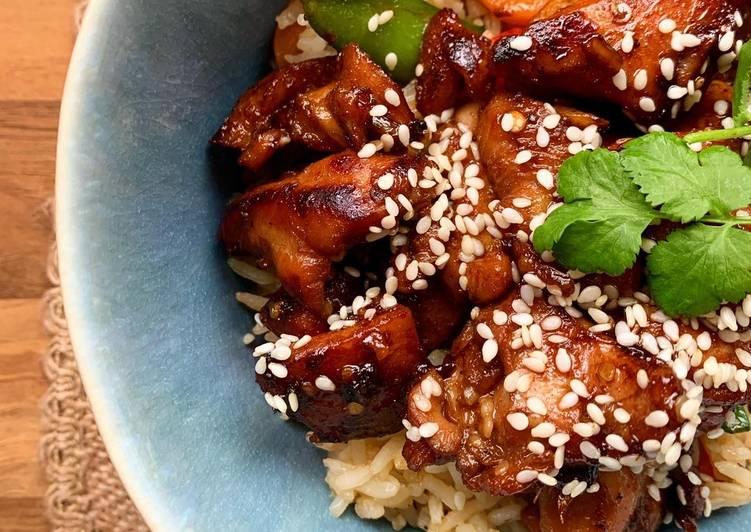 Korean style sticky chicken (with veggie rice)