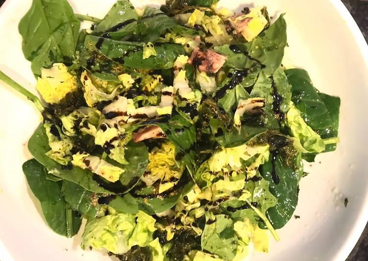 Recette: Salade de poulpe 🦑, algues, épinard, kale, laitues