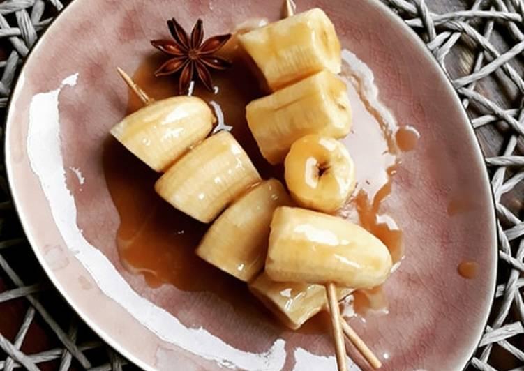 Les Meilleures Recettes de ☆Brochette de Bananes Caramélisées aux Épices Douces☆