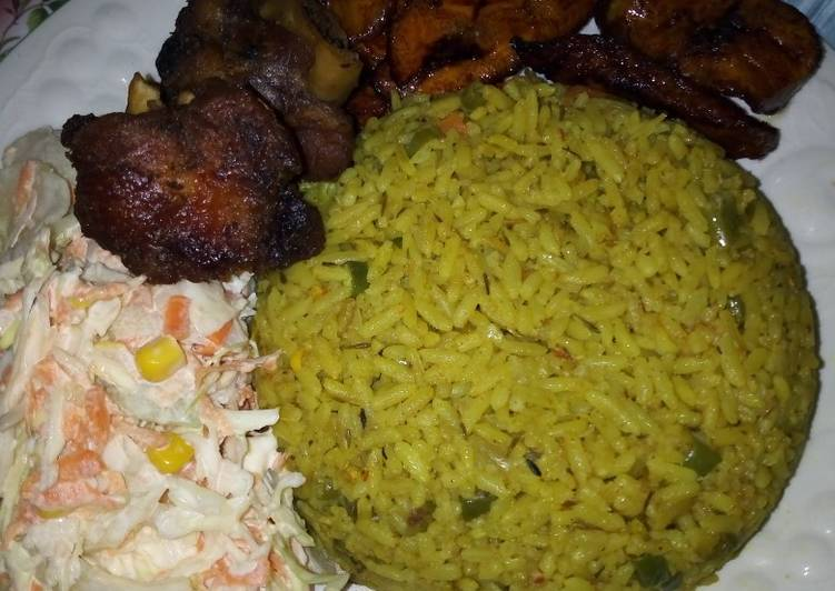 Fried Rice, Vegetable Salad, Turkey with Fried Plantain
