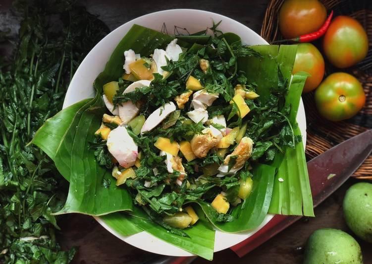 Ensaladang pako with a bites of salted eggs