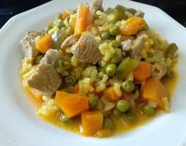 Pavo con arroz y verduritas