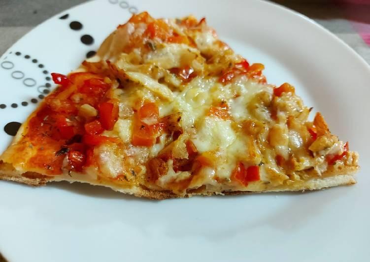 Pizza rápida de pollo y pimiento