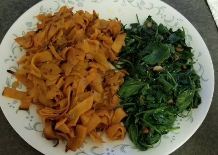Simple Way to Make Perfect Simple Side dishes: sweet potato ribbons with garlic spinach