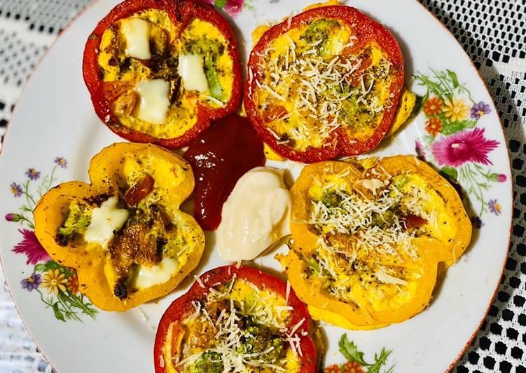 Vegetarian bell peppers omelette