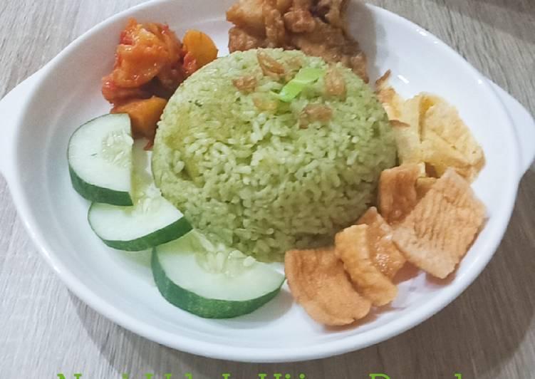 Nasi Uduk Hijau Pandan dgn rice cooker