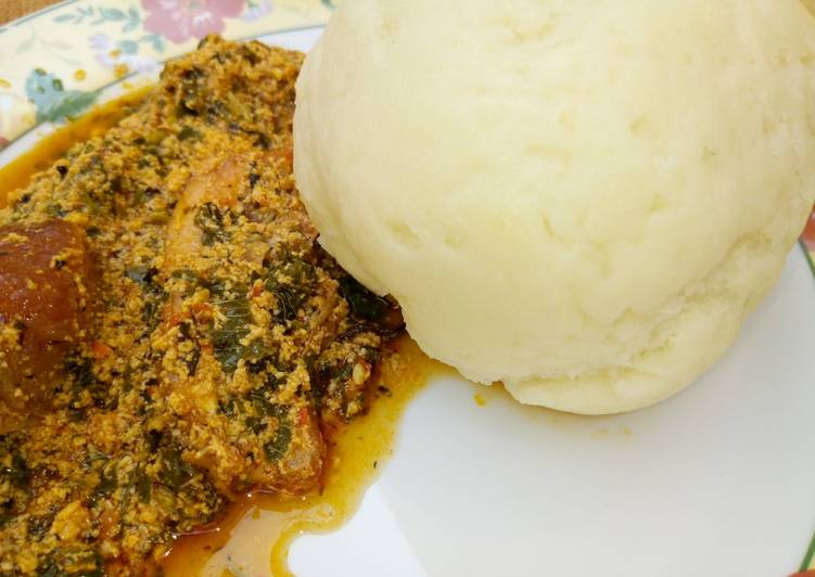 Step-by-Step Guide to Prepare Quick Pounded yam with Melon soup