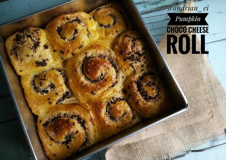 Pumpkin Choco Cheese Roll Bread (Recomended)