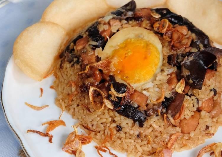 Nasi Tim Ayam Jamur (Ricecooker)