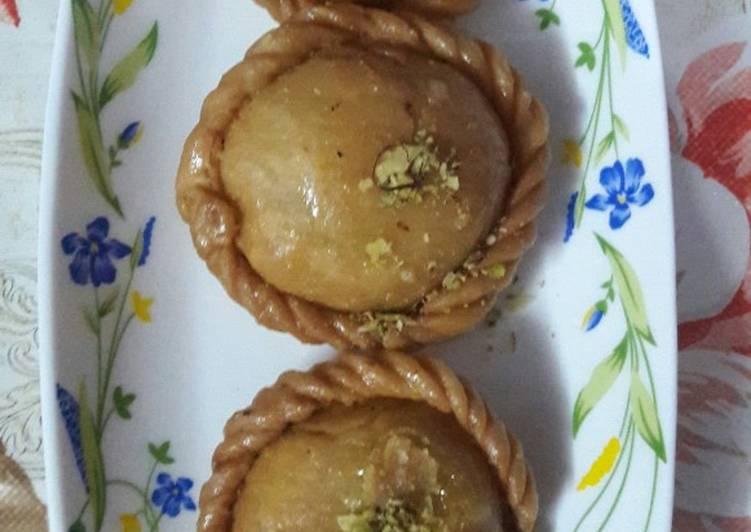 Steps to Prepare Super Quick Homemade Chandrakala sweets