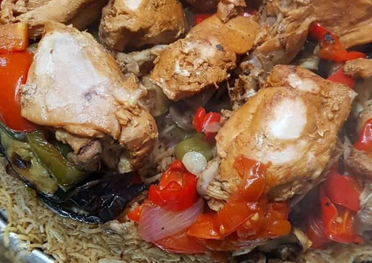 مقلوبة الباذنجان الصحية بدون قلي مع الدجاج