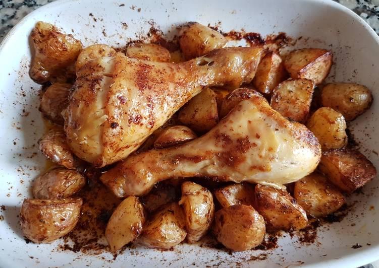 Pilons de poulet et pomme de terre grenailles au paprika au four