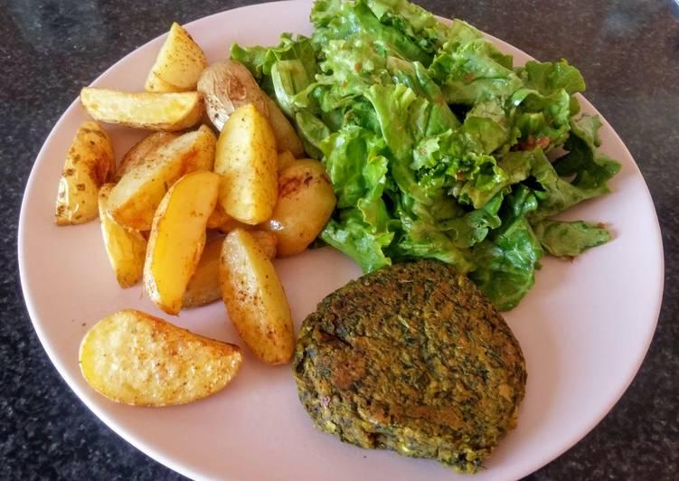 Burger aux pois chiches et fanes de carottes (vegan)