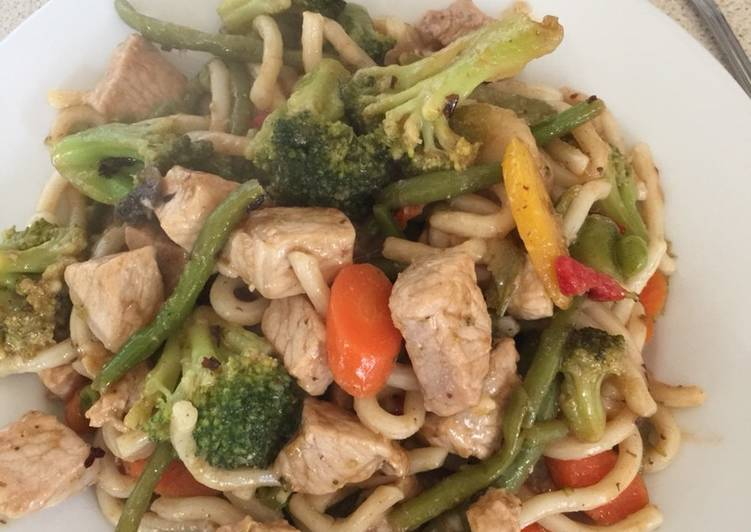Pork with Black Bean Stir-fry with Udon thick noodles