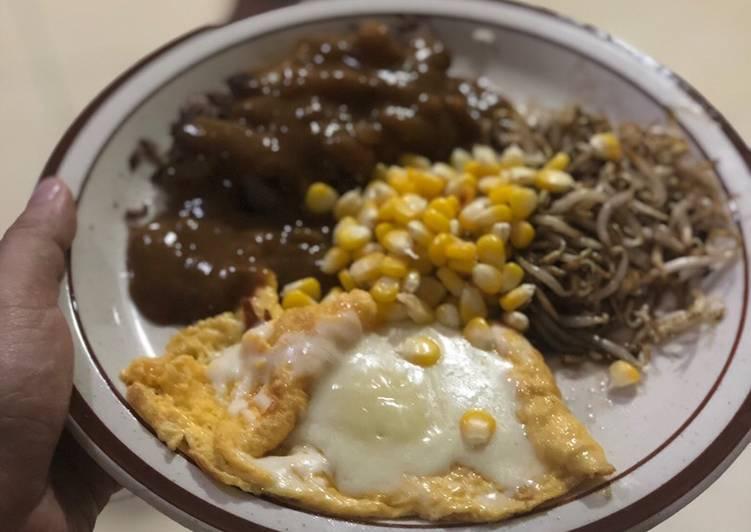 Hamburg Steak dengan saus curry ala pepper lunch