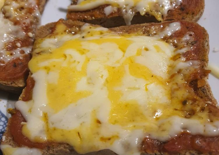 Steps to Prepare Favorite Toasts pizza