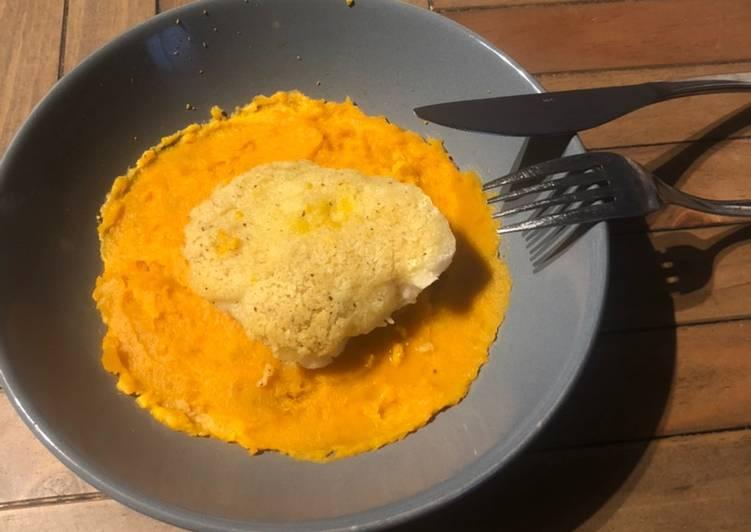 Recette Des Cabillaud, crumble parmesan piment et zeste d'orange, purée de butternut