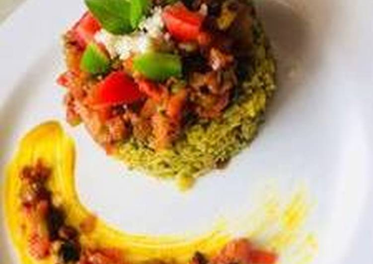 10 Minute Recipe of Vegan Spinach rice with tomato basil salsa