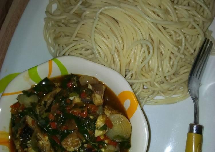 Saperghetti & vegetables soup