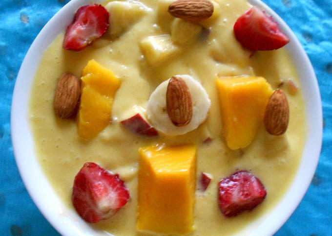 Mango Puree Fruit Salad without Custard