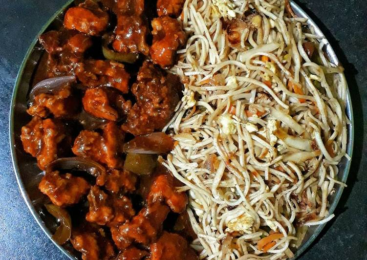 EGG CHOWMEIN & TANDOORI CHILLI CHICKEN
