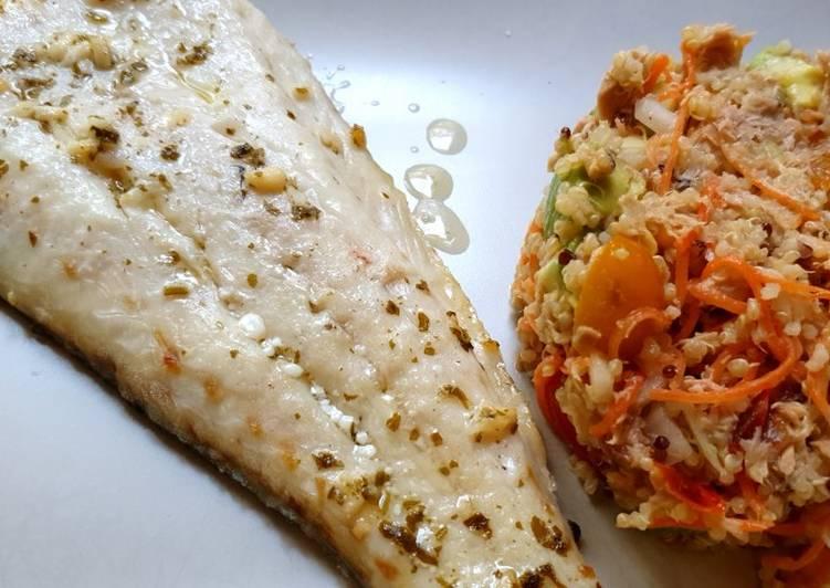 Filete de merluza y ensalada de quinoa