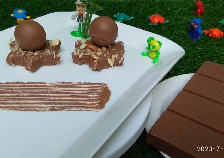 Chocolate kaju katli with surprising chocolates sphere