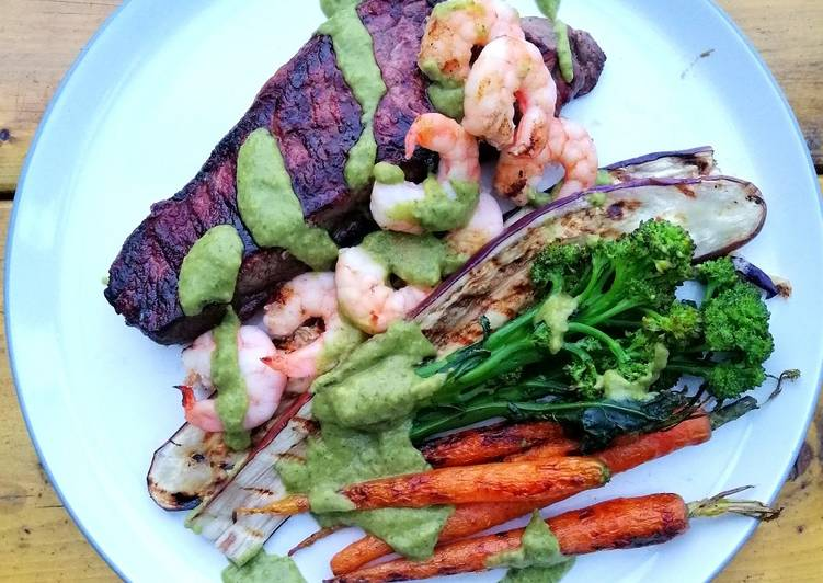 Discover How to Boost Your Mood with Food Surf and turf / grilled veg / avocado chimichurri