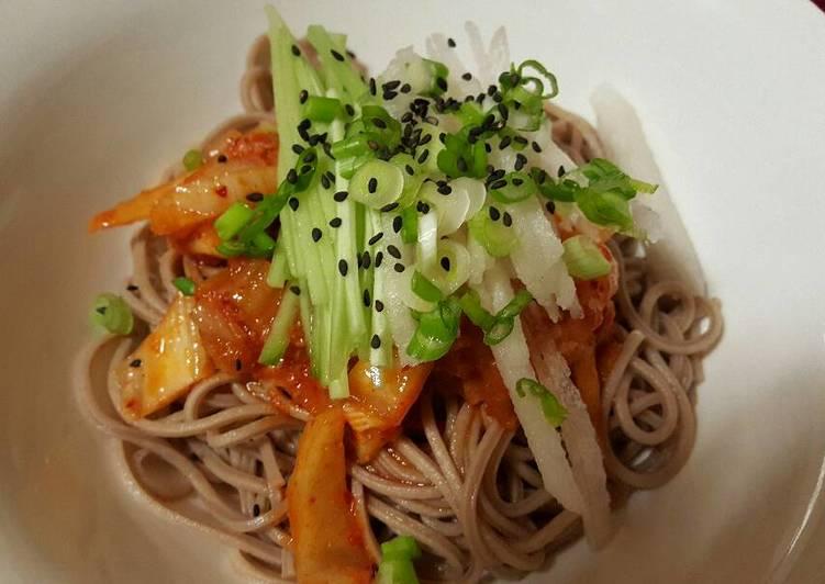 Kimchi buckwheat noodles
