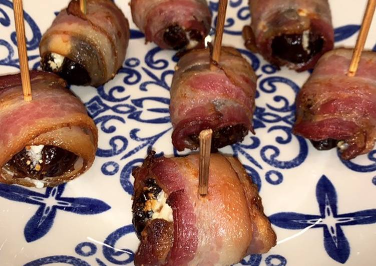Dates filled with goat cheese and covered in bacon (easy)