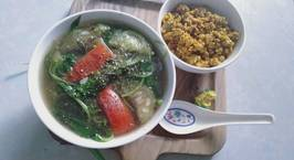 Hình ảnh món Canh rau dền mướp nấu riêu kèm hến xào sả ớt