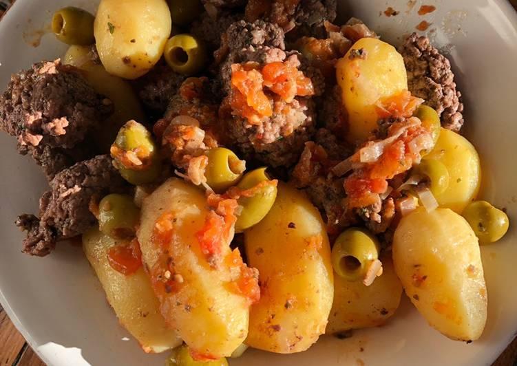 recette Tajine de keftas olives et pomme de terre délicieux