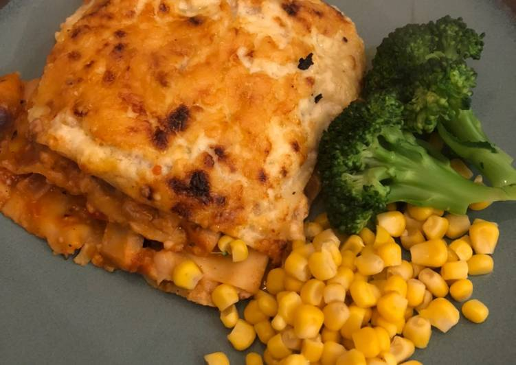Chicken, butternut squash and bean lasagne