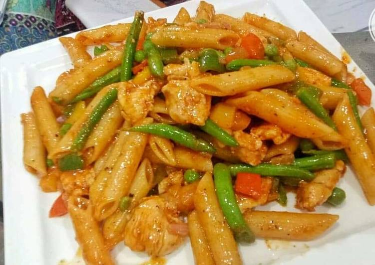 Easiest Way to Cook Delicious Chicken chilli penne pasta