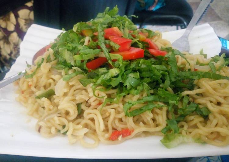 Noodles with salad