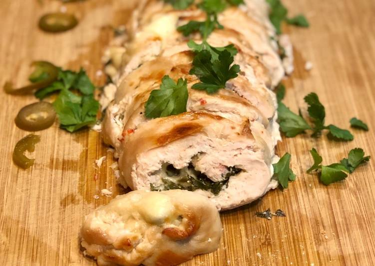 Simple Way to Prepare Super Quick Homemade Mozzarella & Jalapeño Chicken Roulade