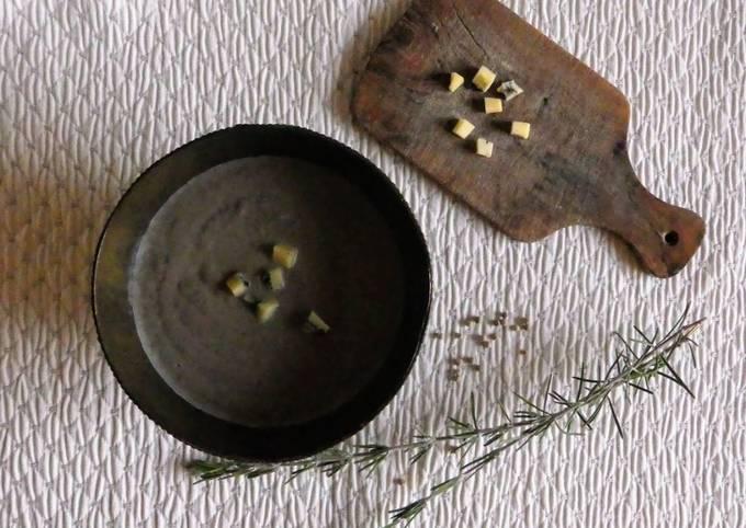 Crème de champignons de Paris au jambon et morbier