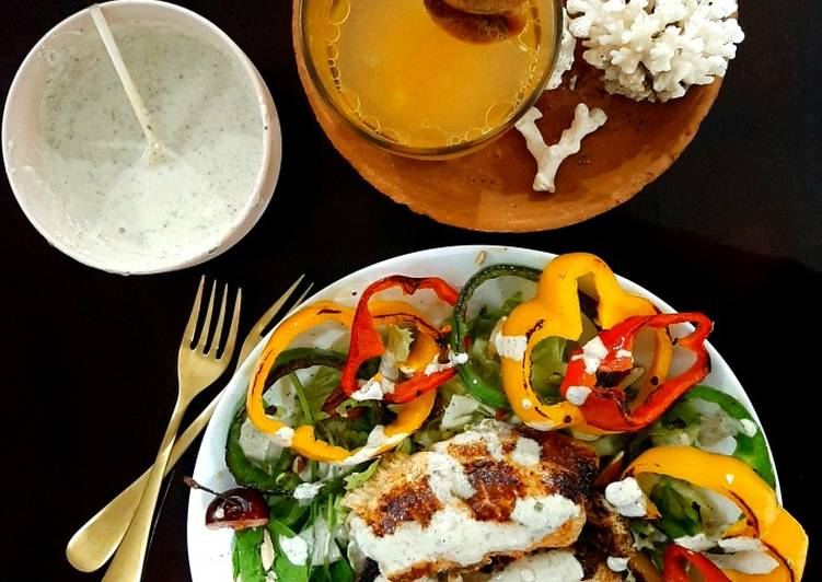 Recipe of Homemade Yoghurt paprika tilapia with blue cheese dressing